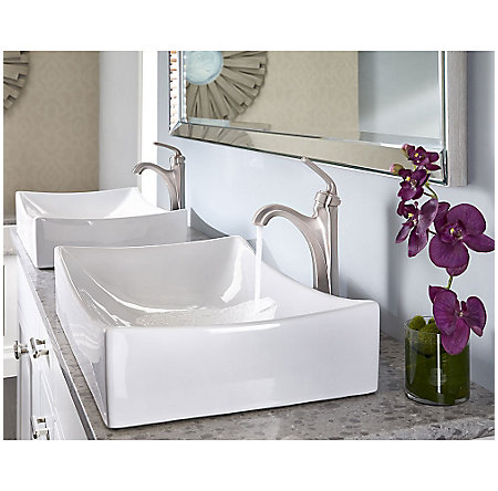 Brushed Nickel Arterra Single Handle Vessel Faucet - LG40-DE0K - 3