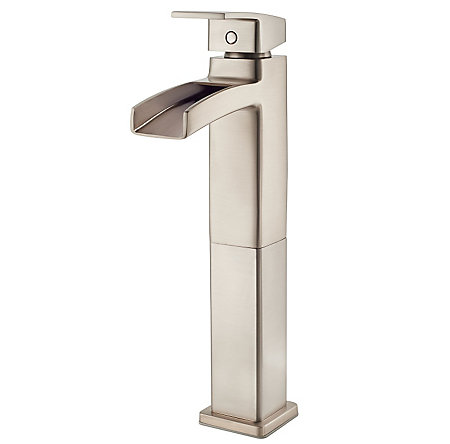 Brushed Nickel Kenzo Single Handle Trough Vessel Bath Faucet   Lg40 Df0k