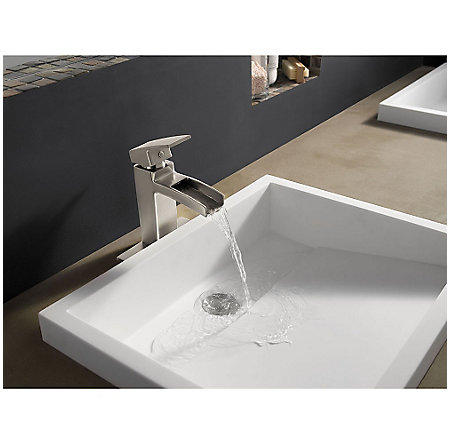 Brushed Nickel Kenzo Single Control, Trough Bath Faucet - LG42-DF0K - 3