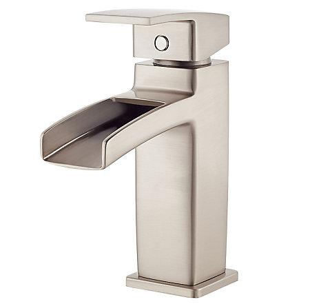 Elegant Brushed Nickel Kenzo Single Control, Trough Bath Faucet   LG42 DF0K   1