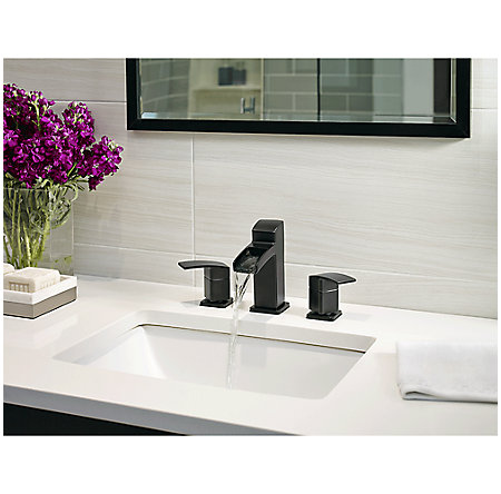 Black Kenzo Widespread Trough Bath Faucet - LG49-DF0B - 3