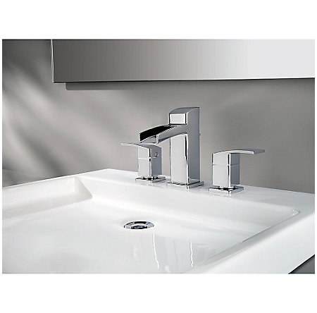 Polished Chrome Kenzo Widespread Trough Bath Faucet - LG49-DF0C - 2