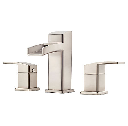 Brushed Nickel Kenzo Widespread Trough Bath Faucet - LG49-DF0K - 1