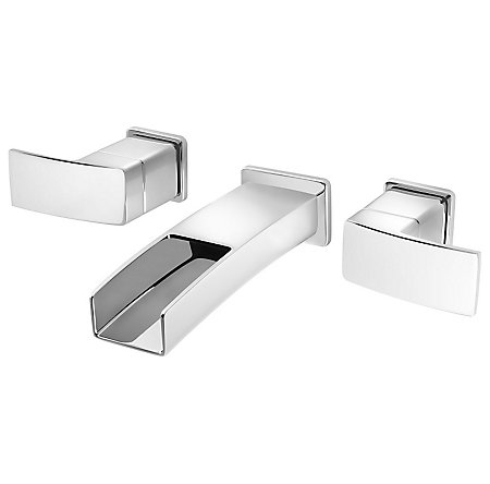 Polished Chrome Kenzo Wall Mount Widespread Trough Bath Faucet - LG49-DF1C - 1