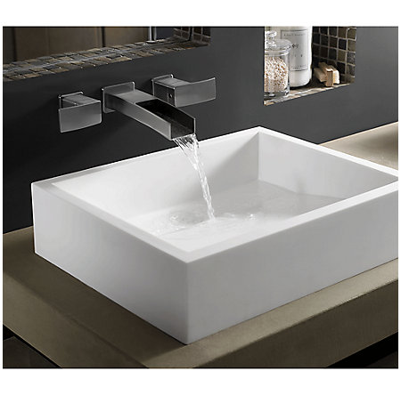 Brushed Nickel Kenzo Wall Mount Widespread Trough Bath Faucet - LG49-DF1K - 2