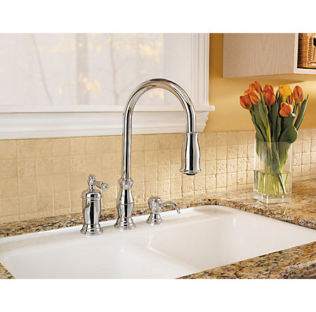 Polished Chrome Hanover 1-Handle, Pull-Down Kitchen Faucet - GT526-TMC - 4