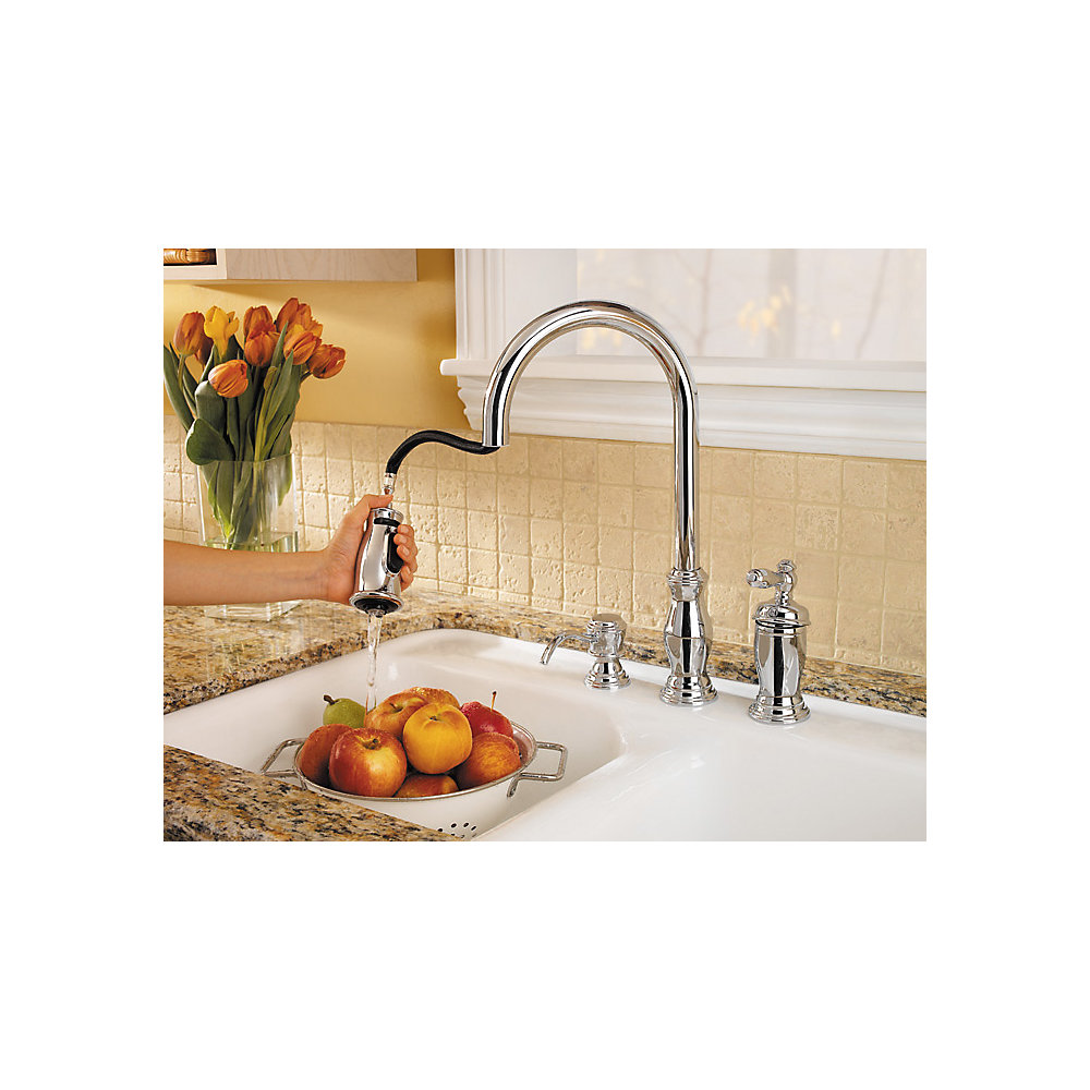 Polished Chrome Hanover 1-Handle, Pull-Down Kitchen Faucet - GT526 ...