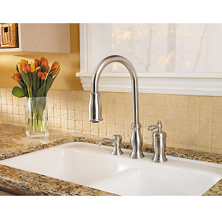 Stainless Steel Hanover 1-Handle, Pull-Down Kitchen Faucet - GT526-TMS - 2