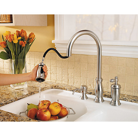 Stainless Steel Hanover 1-Handle, Pull-Down Kitchen Faucet - GT526-TMS - 3