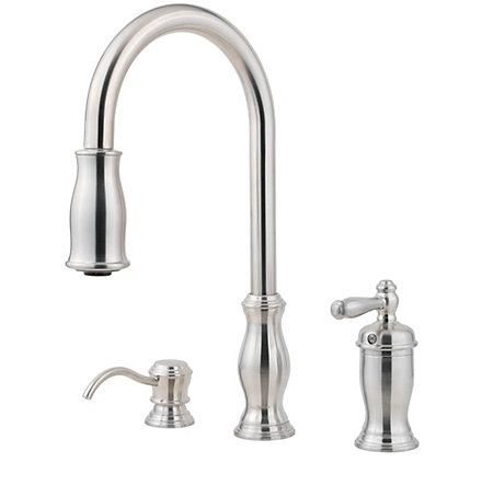 Stainless Steel Hanover 1-Handle, Pull-Down Kitchen Faucet - GT526-TMS - 1