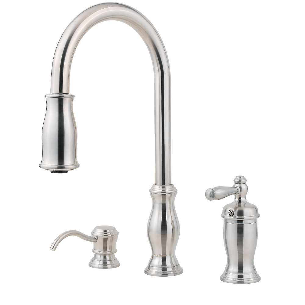 faucet single steel down kitchen of spray wonderful stainless handle with pull