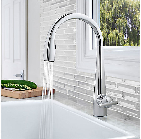 Polished Chrome Lita with Xtract™ 1-Handle, Pull-Down Kitchen Faucet - GT529-FLC - 6