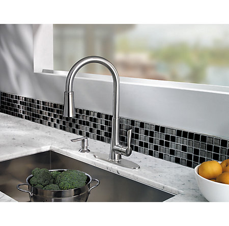 Stainless Steel Mystique 1-Handle, Pull-Down Kitchen Faucet - GT529-MDS - 3