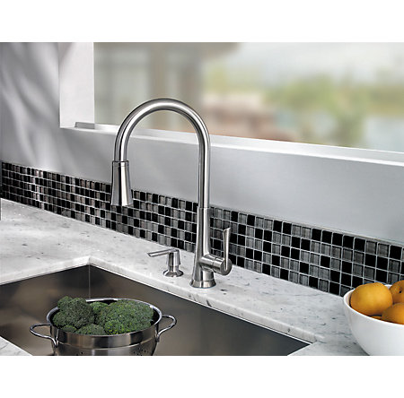 Stainless Steel Mystique 1-Handle, Pull-Down Kitchen Faucet - GT529-MDS - 6