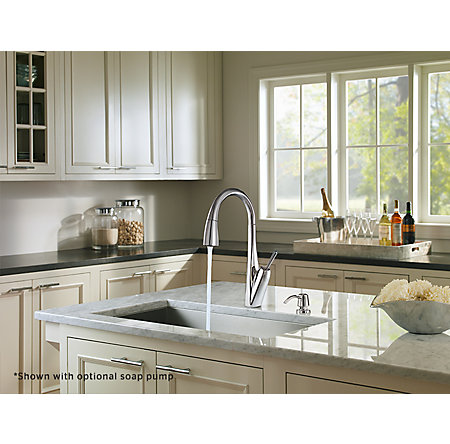 Polished Chrome Zuri Pull-Down Kitchen Faucet - GT529-MPC - 5