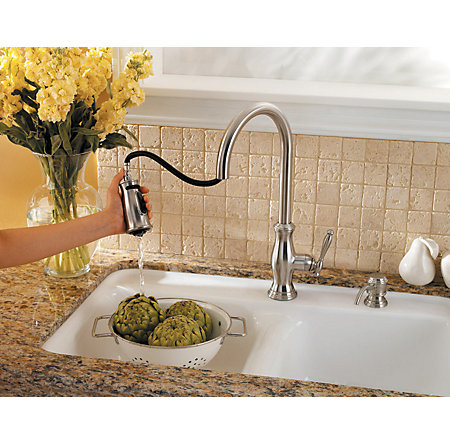 Stainless Steel Hanover 1-Handle, Pull-Down Kitchen Faucet - GT529-TMS - 4