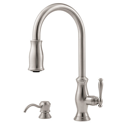 Stainless Steel Hanover 1-Handle, Pull-Down Kitchen Faucet - GT529-TMS - 1