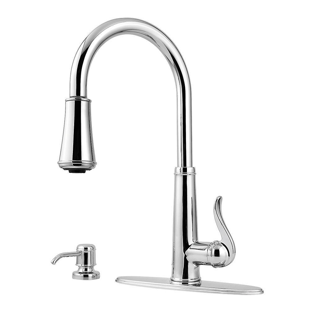 Polished Chrome Ashfield 1 Handle Pull Down Kitchen Faucet Gt529 Ypc