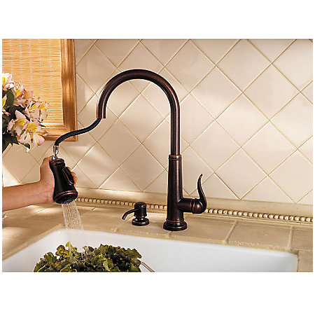 Rustic Bronze Ashfield 1-Handle, Pull-Down Kitchen Faucet - GT529-YPU - 6