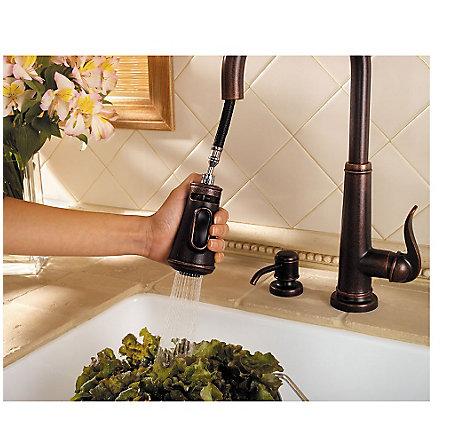 Rustic Bronze Ashfield 1 Handle, Pull Down Kitchen Faucet   GT529 YPU