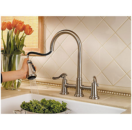 Brushed Nickel Ashfield 2-Handle, Pull-Down Kitchen Faucet - LG531-YPK - 3