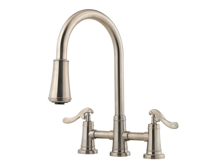 Brushed Nickel Ashfield 2-Handle, Pull-Down Kitchen Faucet - LG531 ...