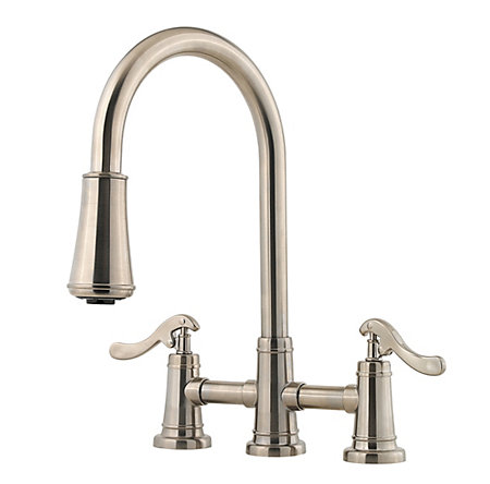 Brushed Nickel Ashfield 2-Handle, Pull-Down Kitchen Faucet - LG531-YPK - 1