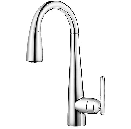 Polished Chrome Lita 1 Handle Pull Down Bar and Prep Faucet - GT72-SMCC - 1