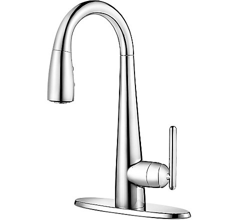 Polished Chrome Lita 1 Handle Pull Down Bar and Prep Faucet - GT72-SMCC - 2