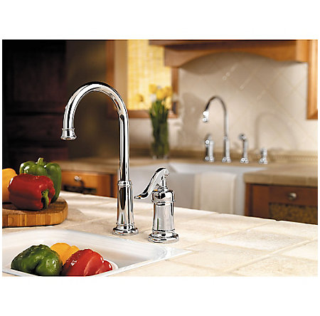 Polished Chrome Ashfield 1-Handle Bar and Prep Faucet - LG72-YP2C - 2