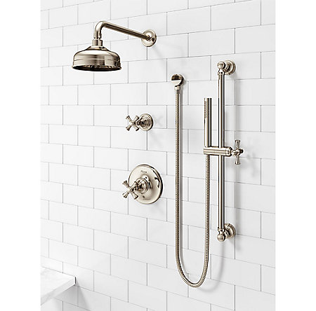 Polished Nickel Tisbury Optional Cross Handle - Tub Shower - HHL-089TBD - 3