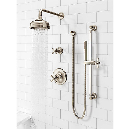 Polished Nickel Tisbury Optional Cross Handle - Tub Shower - HHL-089TBD - 4