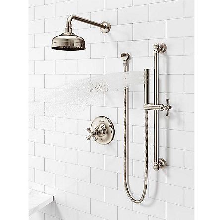 Polished Nickel Tisbury Optional Cross Handle - Tub Shower - HHL-089TBD - 5