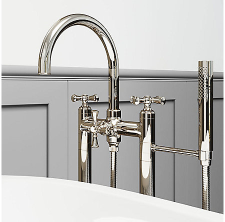 Polished Nickel Tisbury Optional Cross Handle - Tub Filler - HHL-LG6TBD - 5