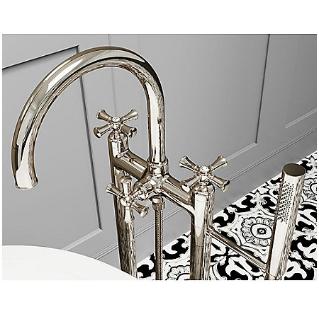 Polished Nickel Tisbury Optional Cross Handle - Tub Filler - HHL-LG6TBD - 6