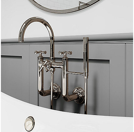 Polished Nickel Tisbury Optional Cross Handle - Tub Filler - HHL-LG6TBD - 7