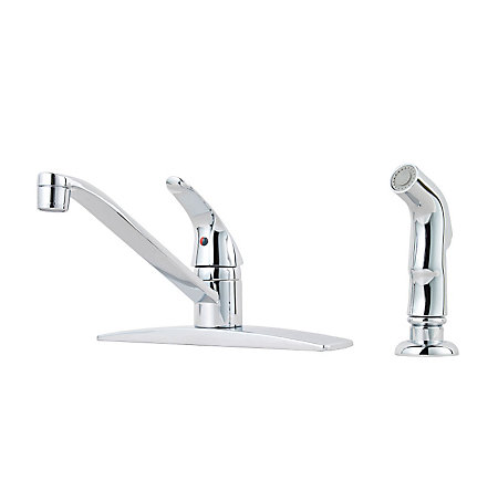 Polished Chrome Pfirst Series 1-Handle Kitchen Faucet, Job Pack  - J134-444C - 1
