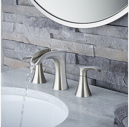 Brushed Nickel Brea Widespread Bath Faucet - LF-049-BRKK - 3