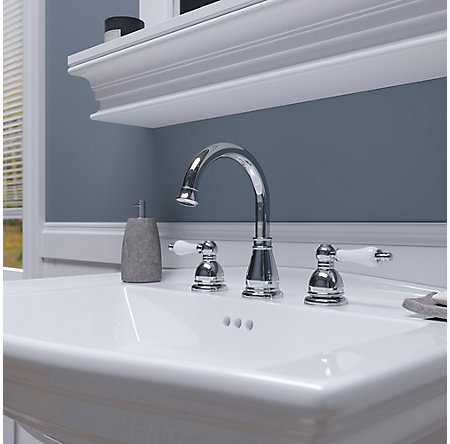 Polished Chrome / White Henlow Widespread Bath Faucet - LF-049-HECC - 6