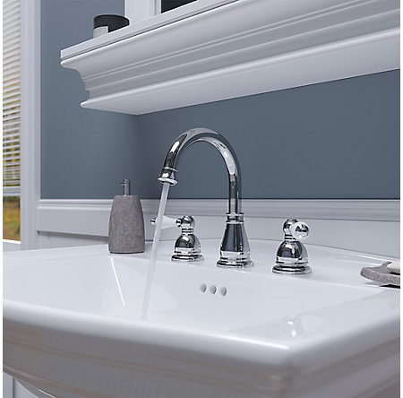 Polished Chrome / White Henlow Widespread Bath Faucet - LF-049-HECC - 7
