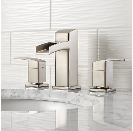 Brushed Nickel Kenzo Widespread Trough Bath Faucet - LG49-DF0K - 2
