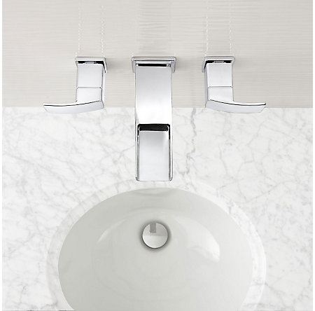 Polished Chrome Kenzo Wall Mount Widespread Trough Bath Faucet - LG49-DF1C - 2