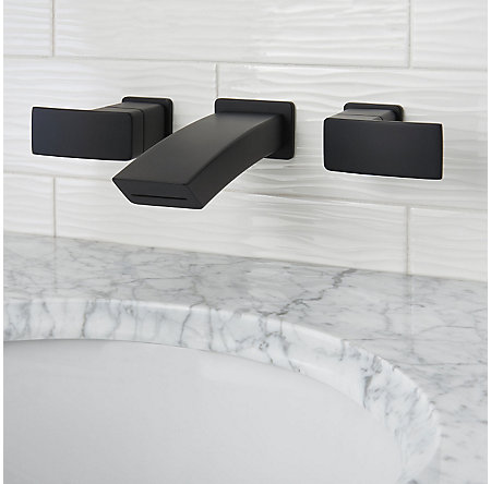 Black Kenzo Wall Mount Widespread Bath Faucet - LG49-DF3B - 2