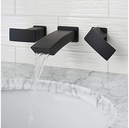 Black Kenzo Wall Mount Widespread Bath Faucet - LG49-DF3B - 3