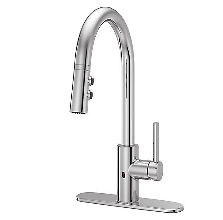 Polished Chrome Stellen Pull-Down Kitchen Faucet with React Touch-free Technology - LG529-ESAC - 2