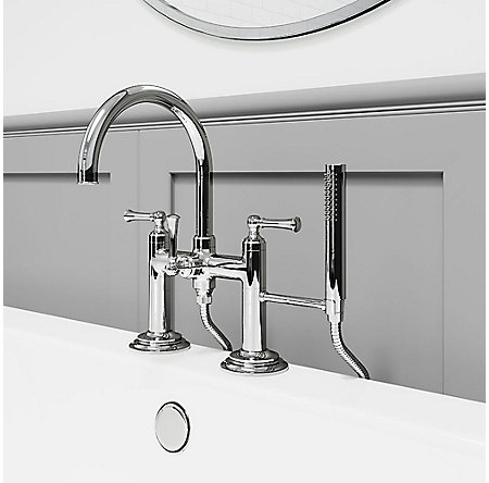Polished Chrome Tisbury Deck Mounted Tub Filler - LG6-2TBC - 2