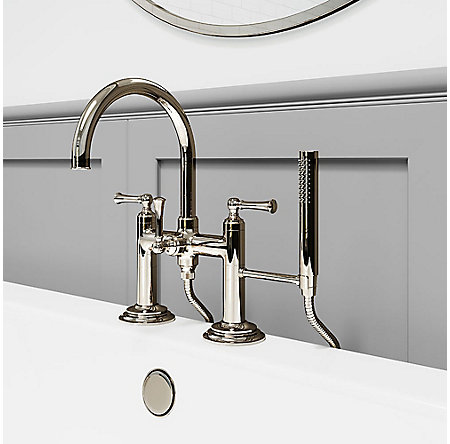 Polished Nickel Tisbury Deck Mounted Tub Filler - LG6-2TBD - 2