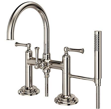 Polished Nickel Tisbury Deck Mounted Tub Filler - LG6-2TBD - 1