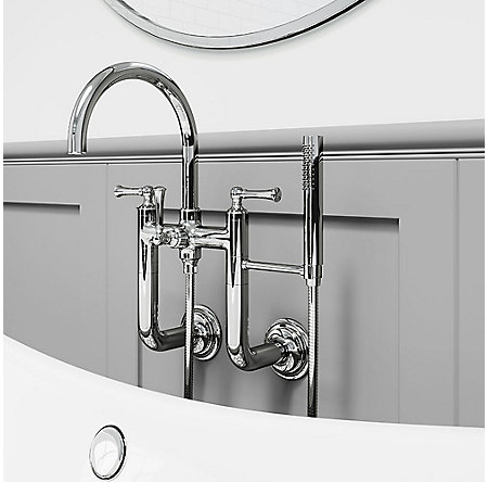 Polished Chrome Tisbury Wall Mounted Tub Filler - LG6-3TBC - 2