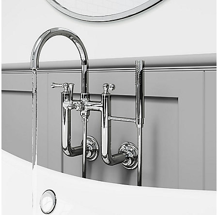 Polished Chrome Tisbury Wall Mounted Tub Filler - LG6-3TBC - 3